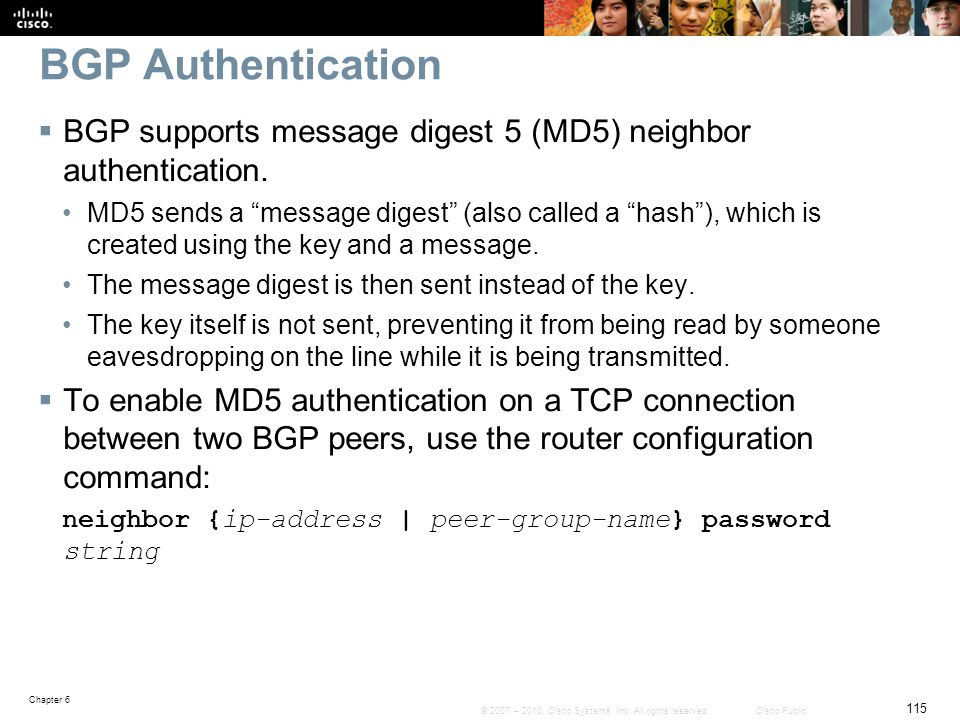 BGP Authentication BGP supports message digest 5 (MD5) neighbor authentication.