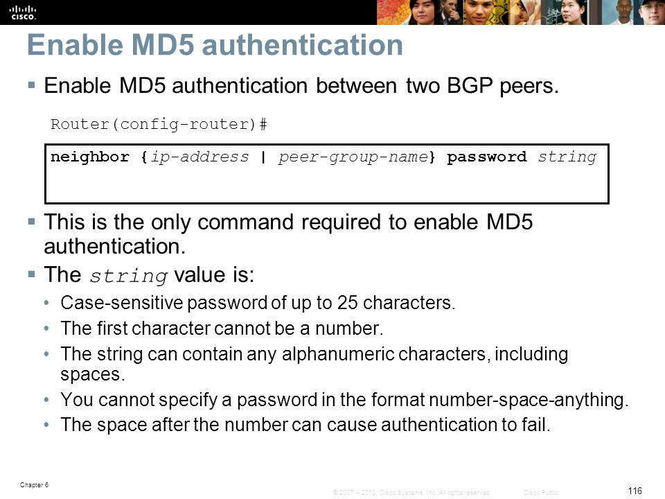 Enable MD5 authentication