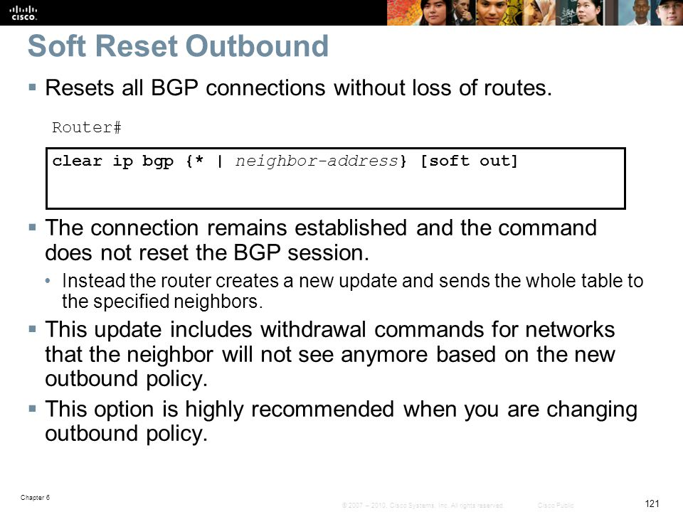 Soft Reset Outbound Resets all BGP connections without loss of routes.