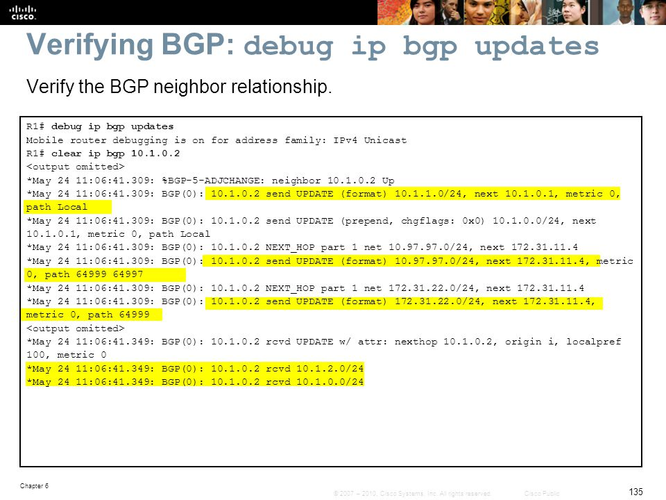 Verifying BGP: debug ip bgp updates