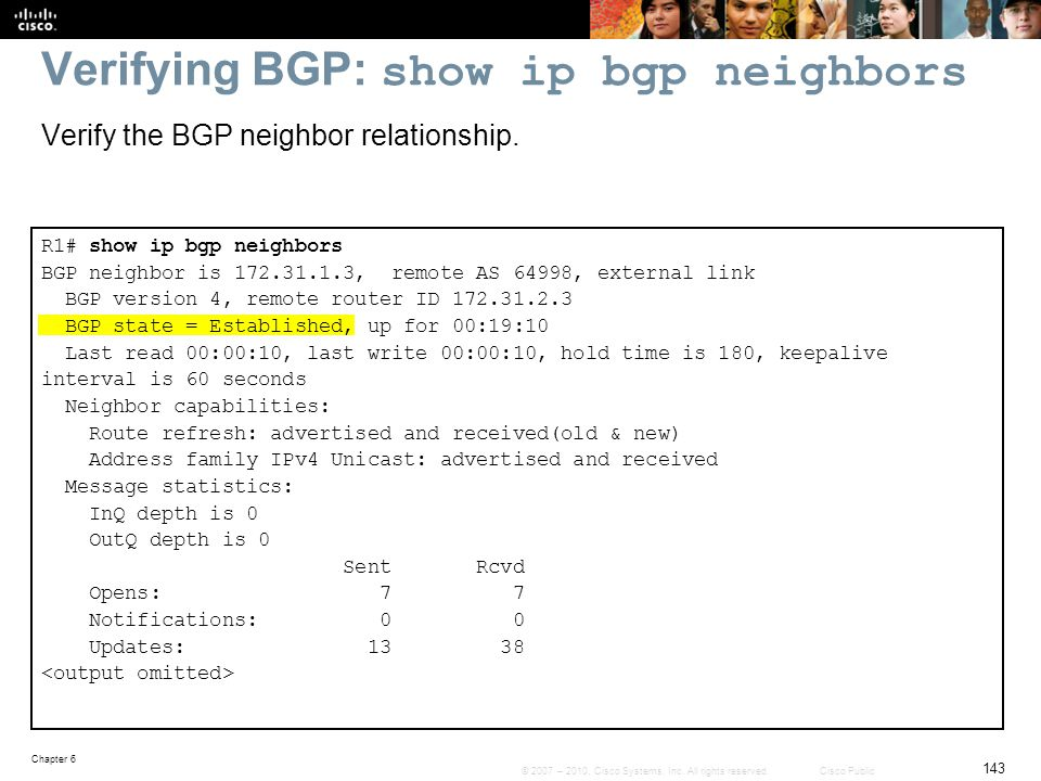 Verifying BGP: show ip bgp neighbors