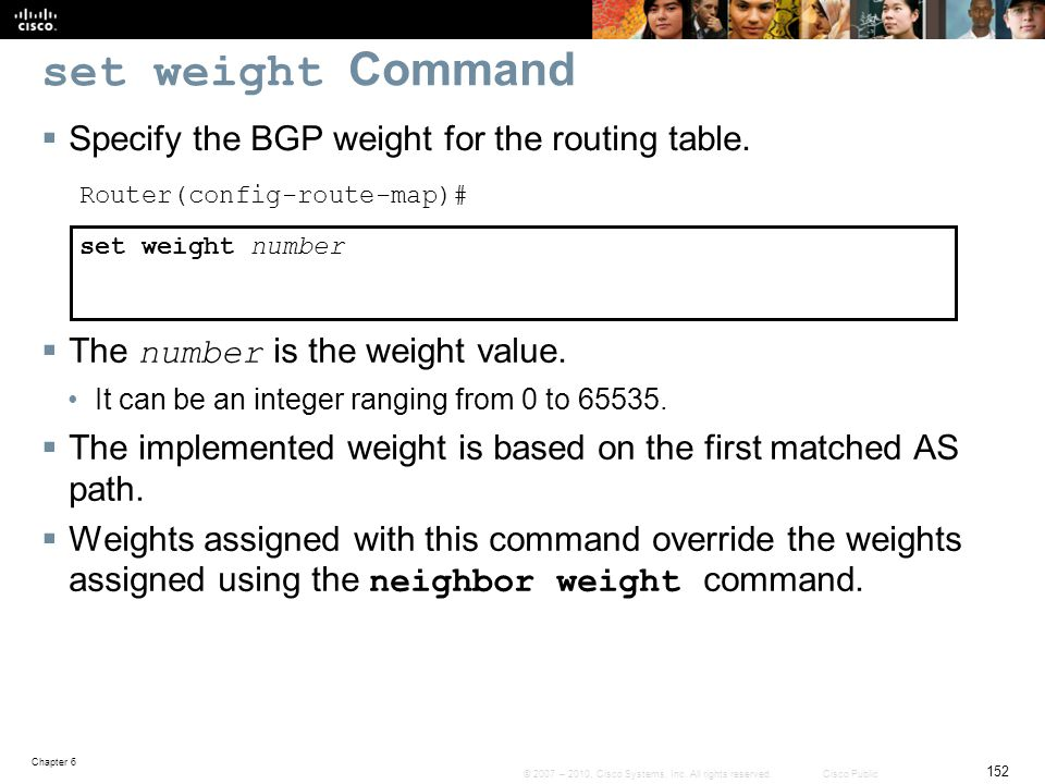 set weight Command Specify the BGP weight for the routing table.