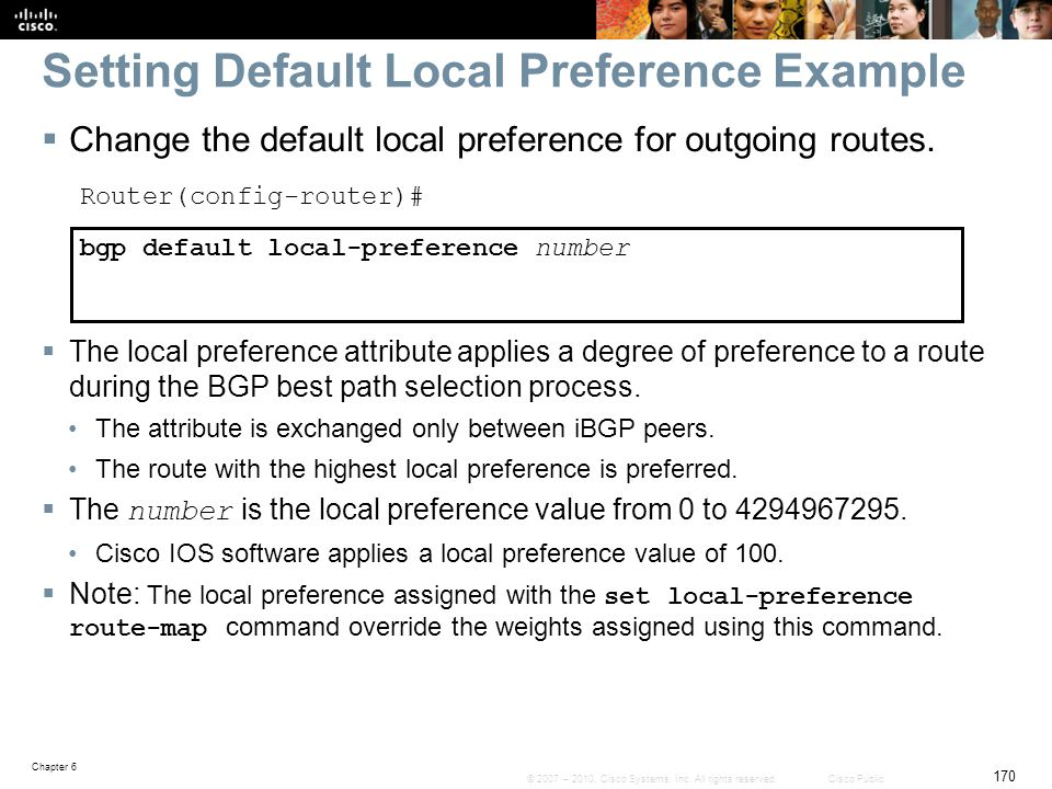 Setting Default Local Preference Example