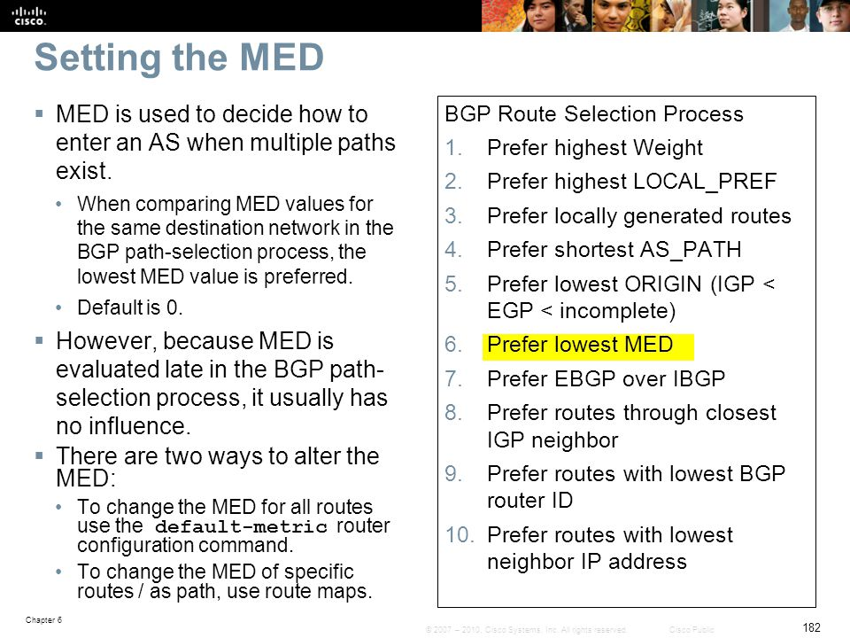 Setting the MED MED is used to decide how to enter an AS when multiple paths exist.