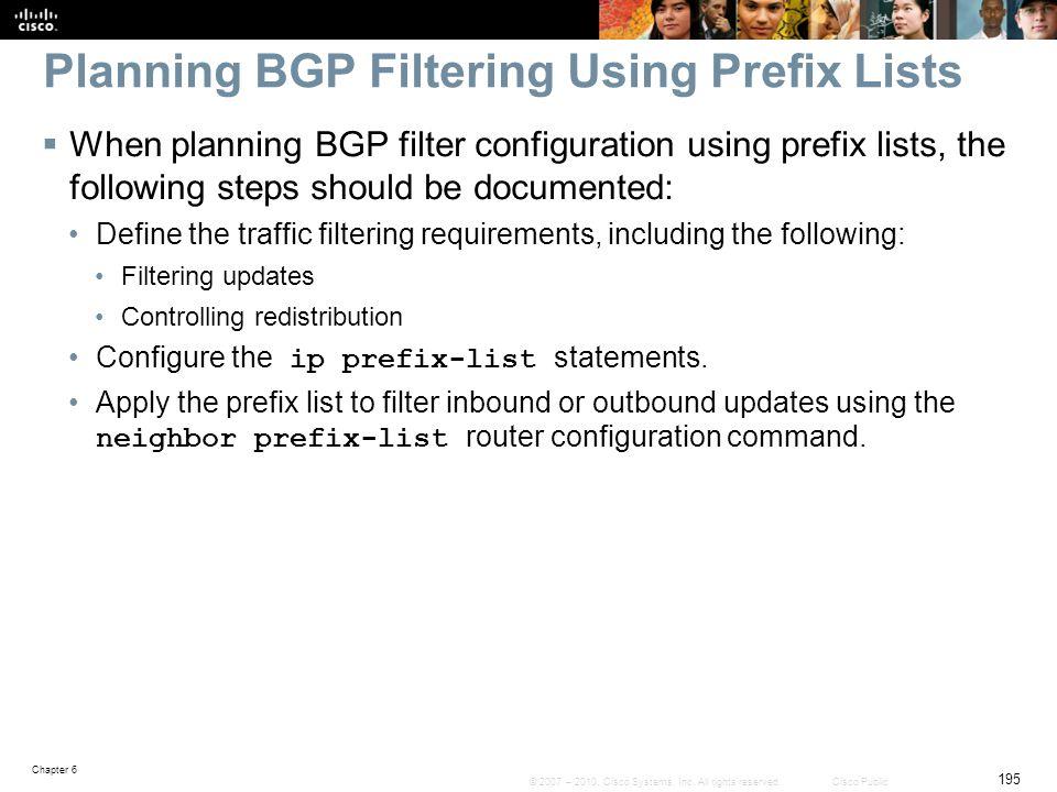 Planning BGP Filtering Using Prefix Lists