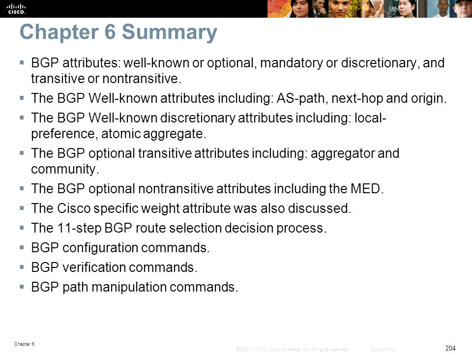 Chapter 6 Summary BGP attributes: well-known or optional, mandatory or discretionary, and transitive or nontransitive.