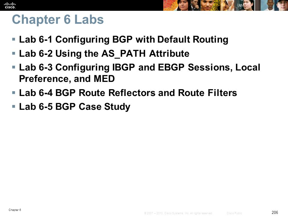 Chapter 6 Labs Lab 6-1 Configuring BGP with Default Routing