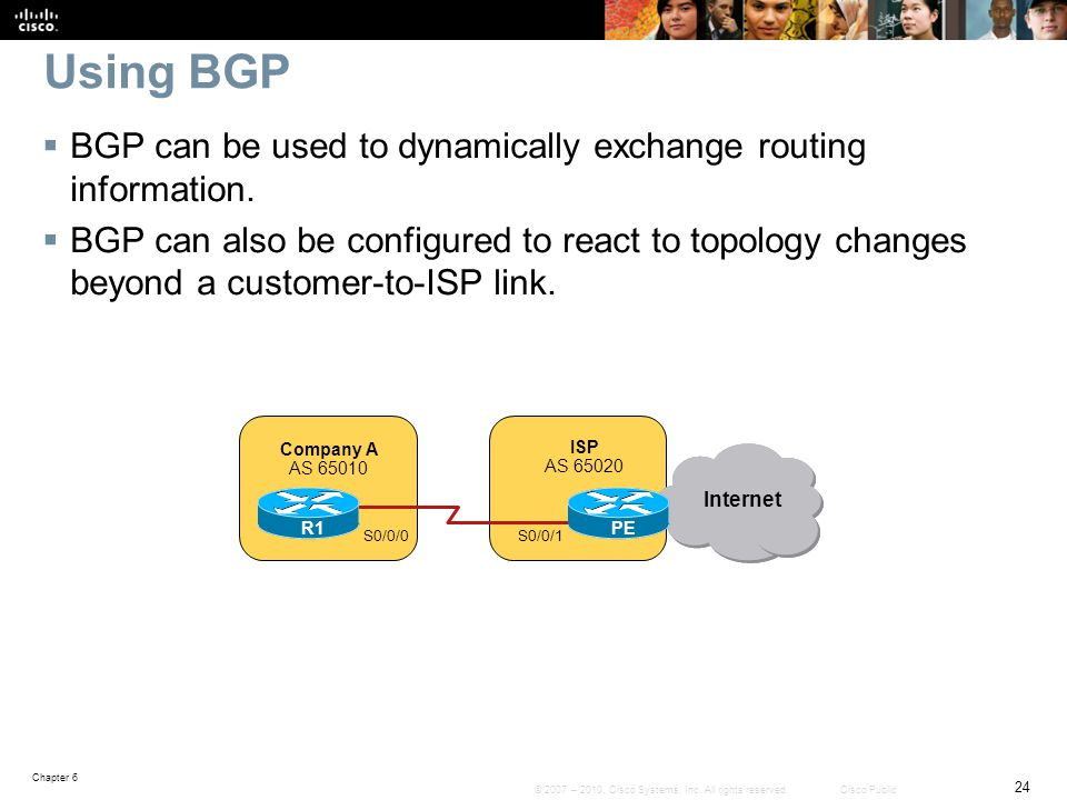 Using BGP BGP can be used to dynamically exchange routing information.