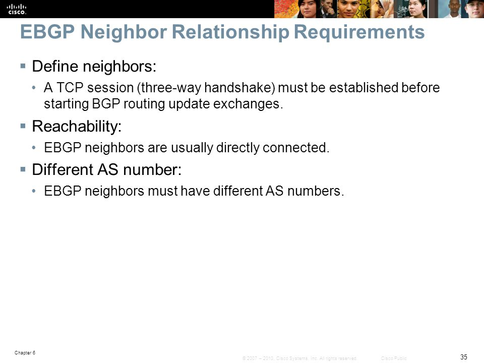 EBGP Neighbor Relationship Requirements