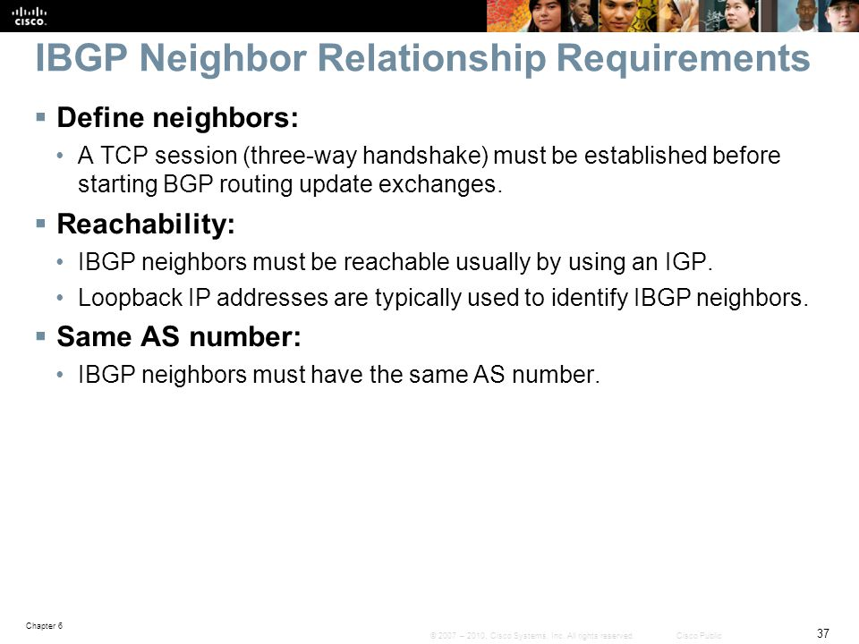 IBGP Neighbor Relationship Requirements