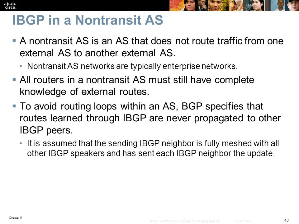 IBGP in a Nontransit AS A nontransit AS is an AS that does not route traffic from one external AS to another external AS.