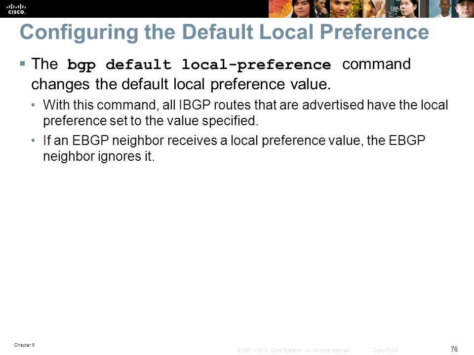 Configuring the Default Local Preference