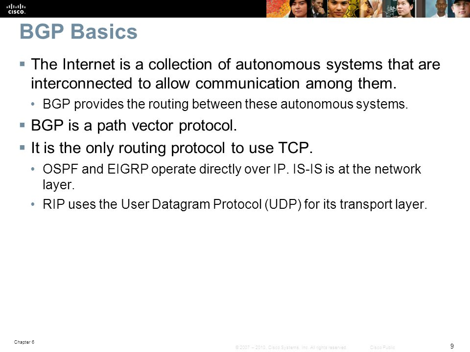 BGP Basics The Internet is a collection of autonomous systems that are interconnected to allow communication among them.