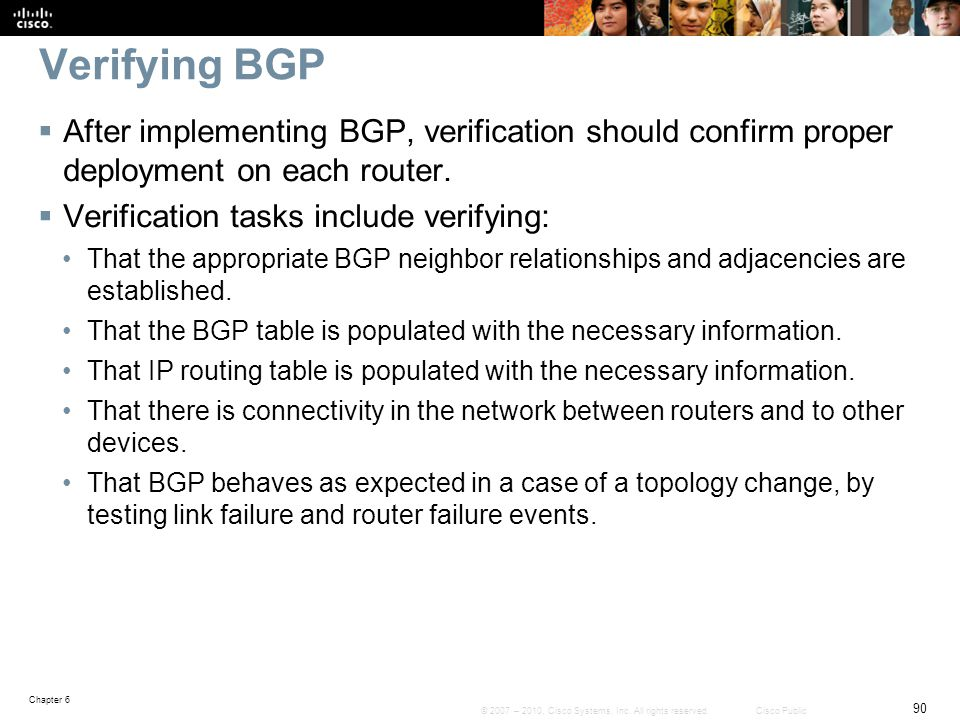 Verifying BGP After implementing BGP, verification should confirm proper deployment on each router.