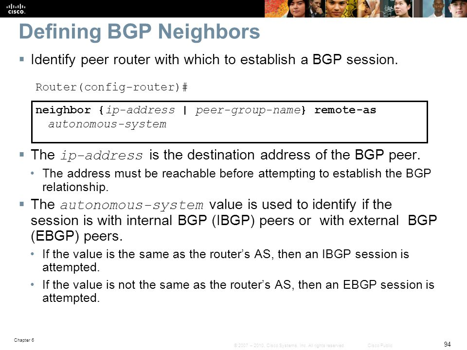 Defining BGP Neighbors