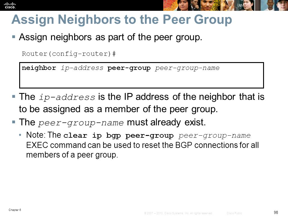 Assign Neighbors to the Peer Group