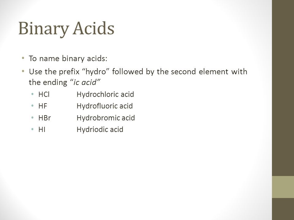 Binary Acids To name binary acids: