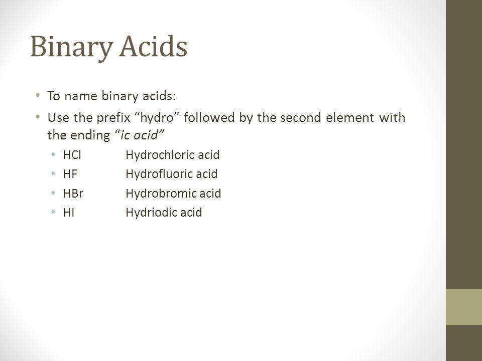 Binary Acids To name binary acids: