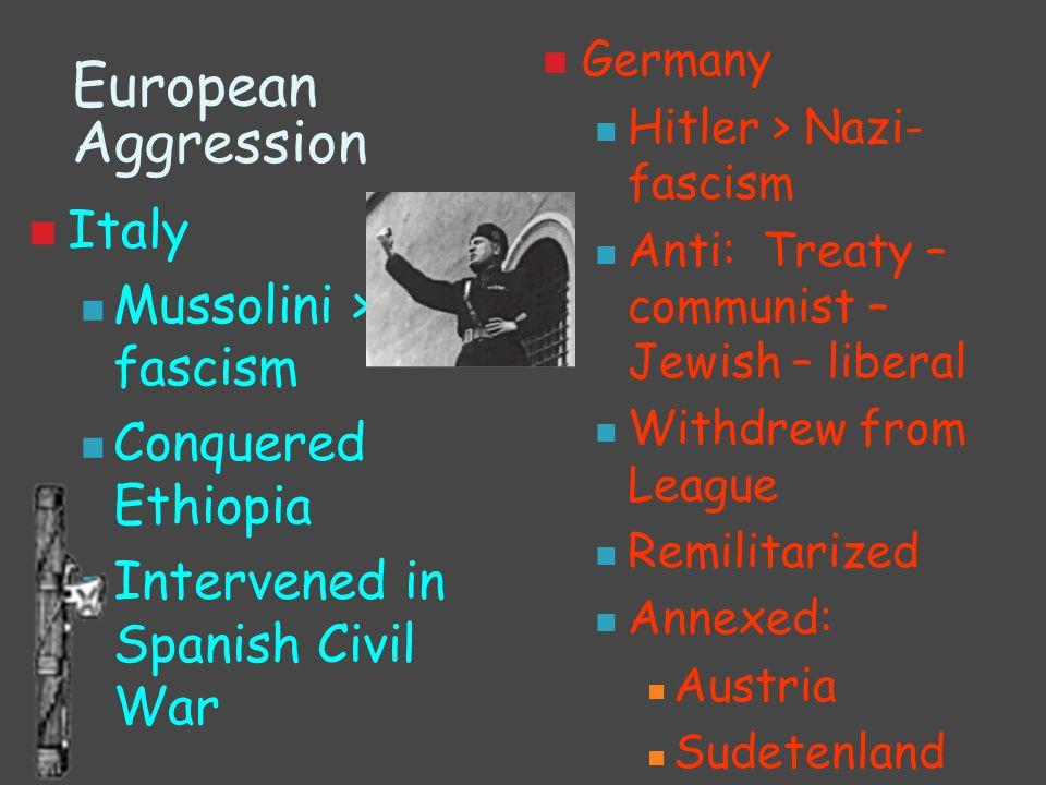 European Aggression Italy Mussolini > fascism Conquered Ethiopia