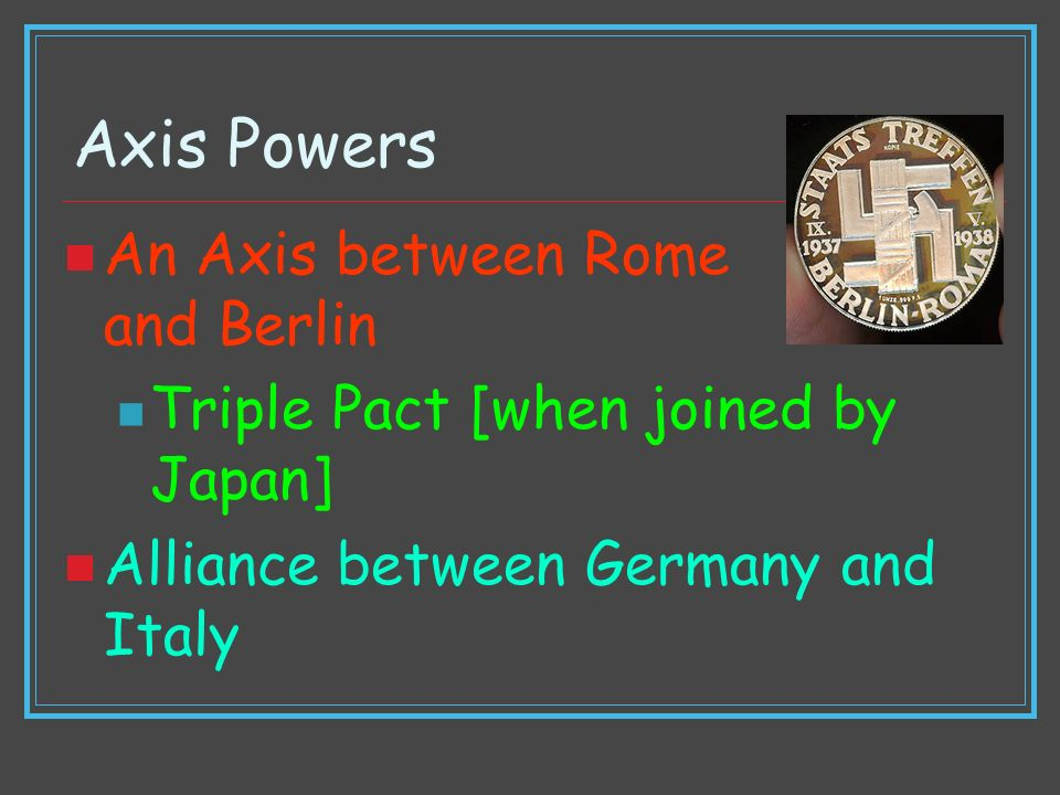Axis Powers An Axis between Rome and Berlin
