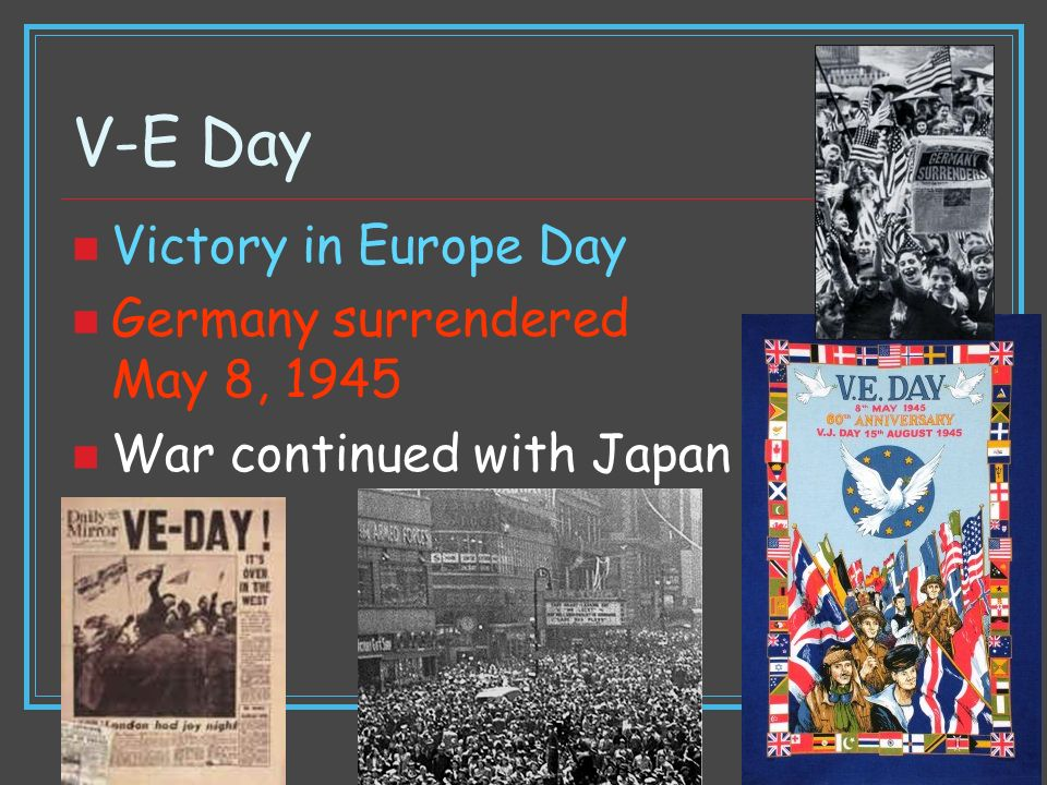 V-E Day Victory in Europe Day Germany surrendered May 8, 1945