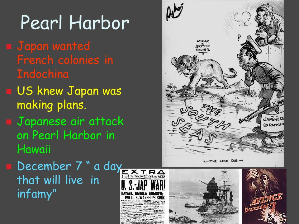 Pearl Harbor Japan wanted French colonies in Indochina