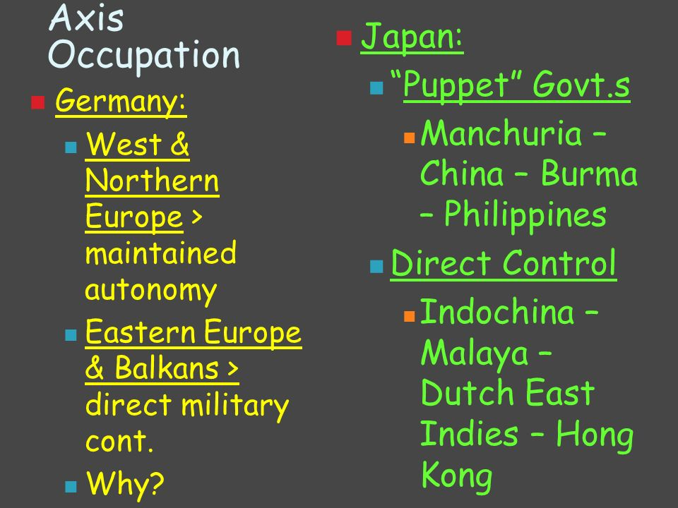 Axis Occupation Japan: Puppet Govt.s
