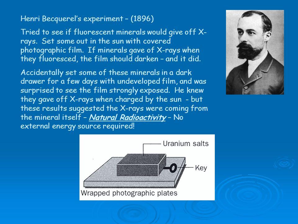 Henri Becquerel's experiment – (1896)