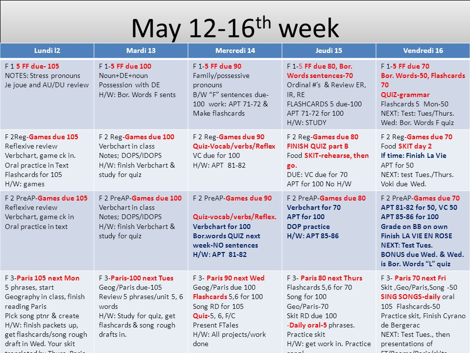 May 12-16th week Lundi l2 Mardi 13 Mercredi 14 Jeudi 15 Vendredi 16
