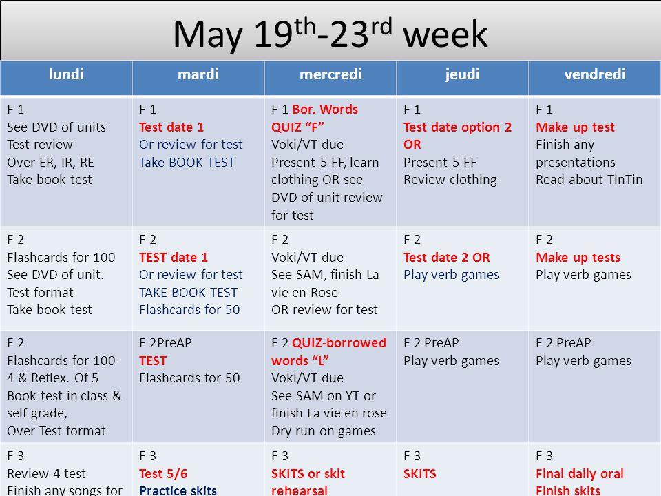 May 19th-23rd week lundi mardi mercredi jeudi vendredi F 1