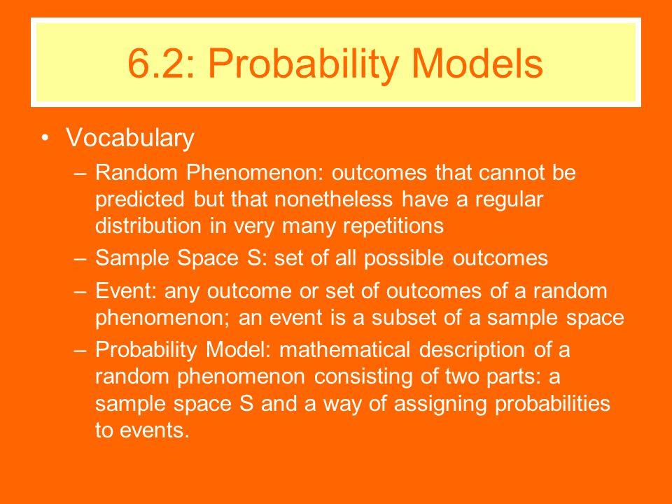 6.2: Probability Models Vocabulary