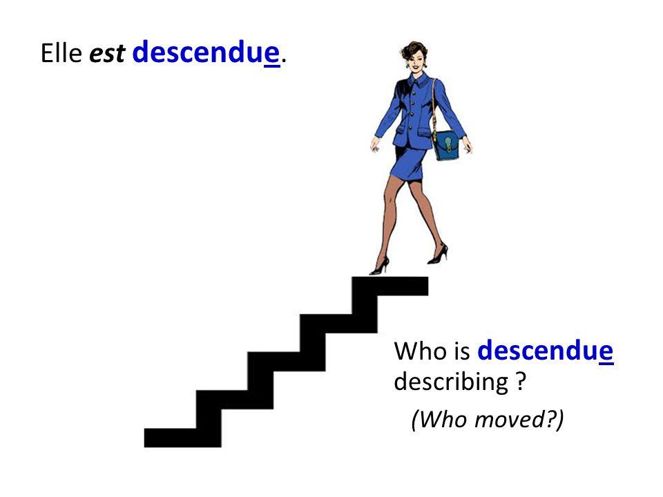 Elle est descendue. Who is descendue describing (Who moved )