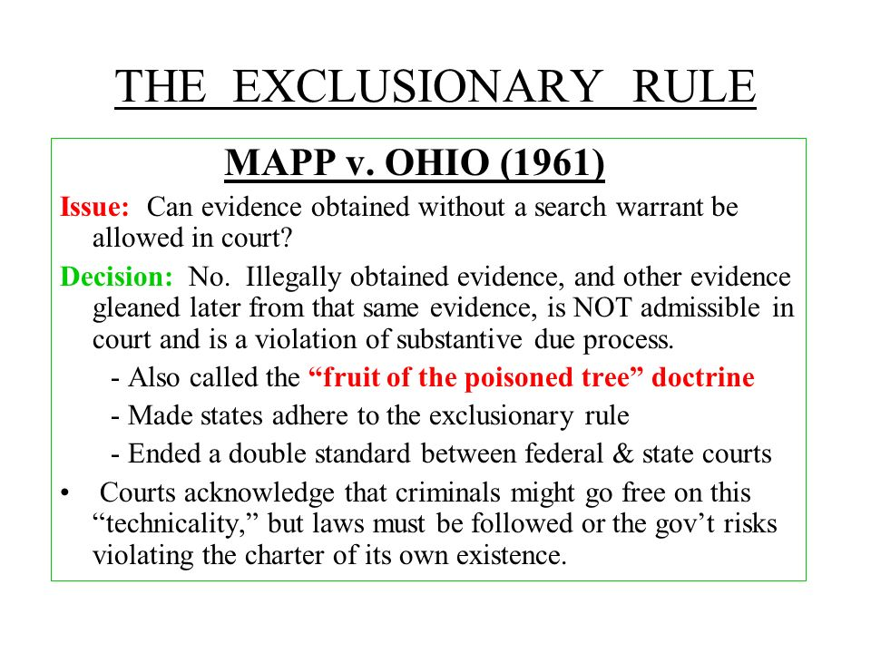 THE EXCLUSIONARY RULE MAPP v. OHIO (1961)