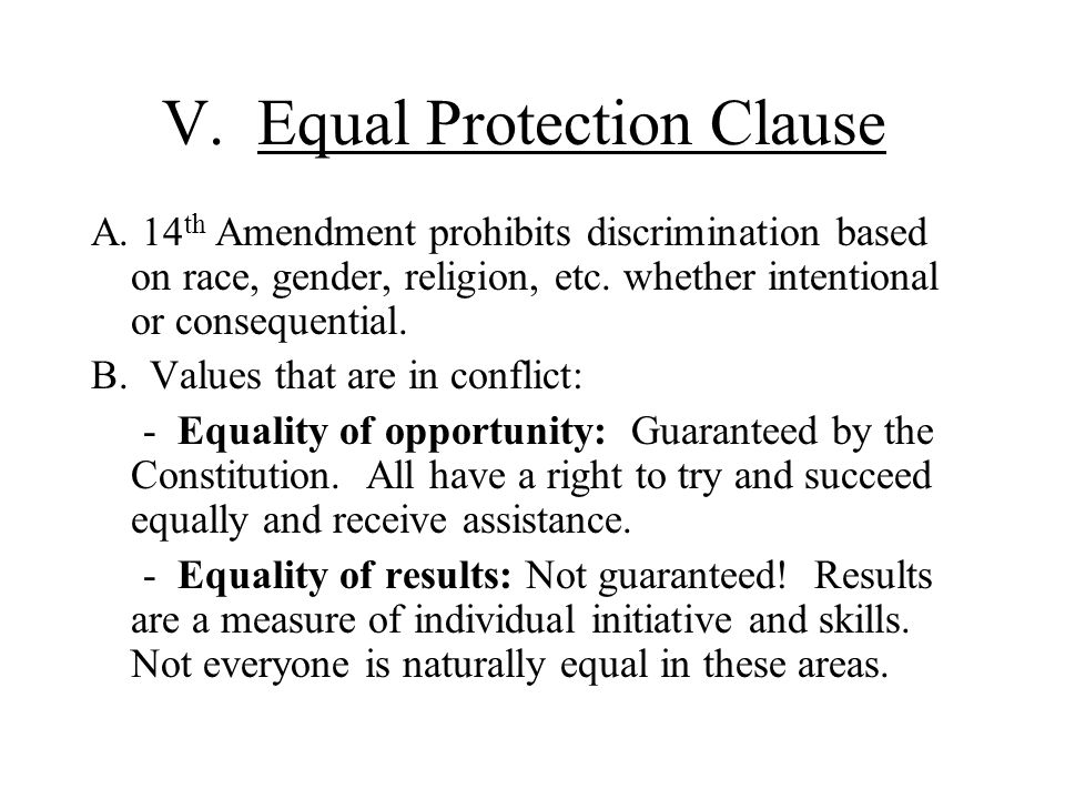 V. Equal Protection Clause