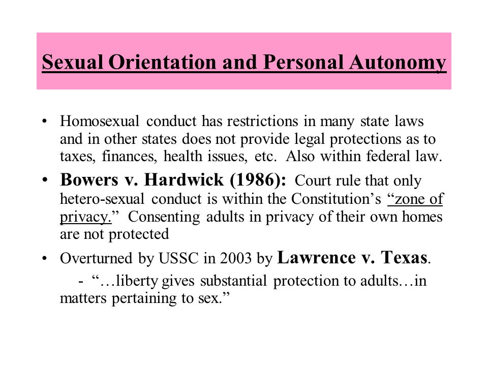 Sexual Orientation and Personal Autonomy