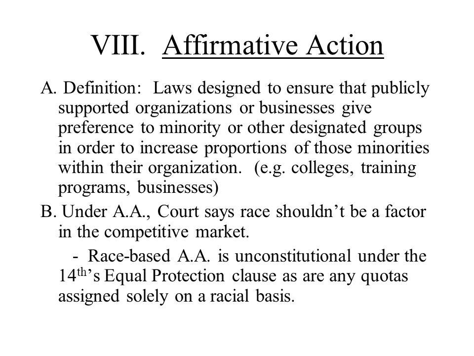 VIII. Affirmative Action