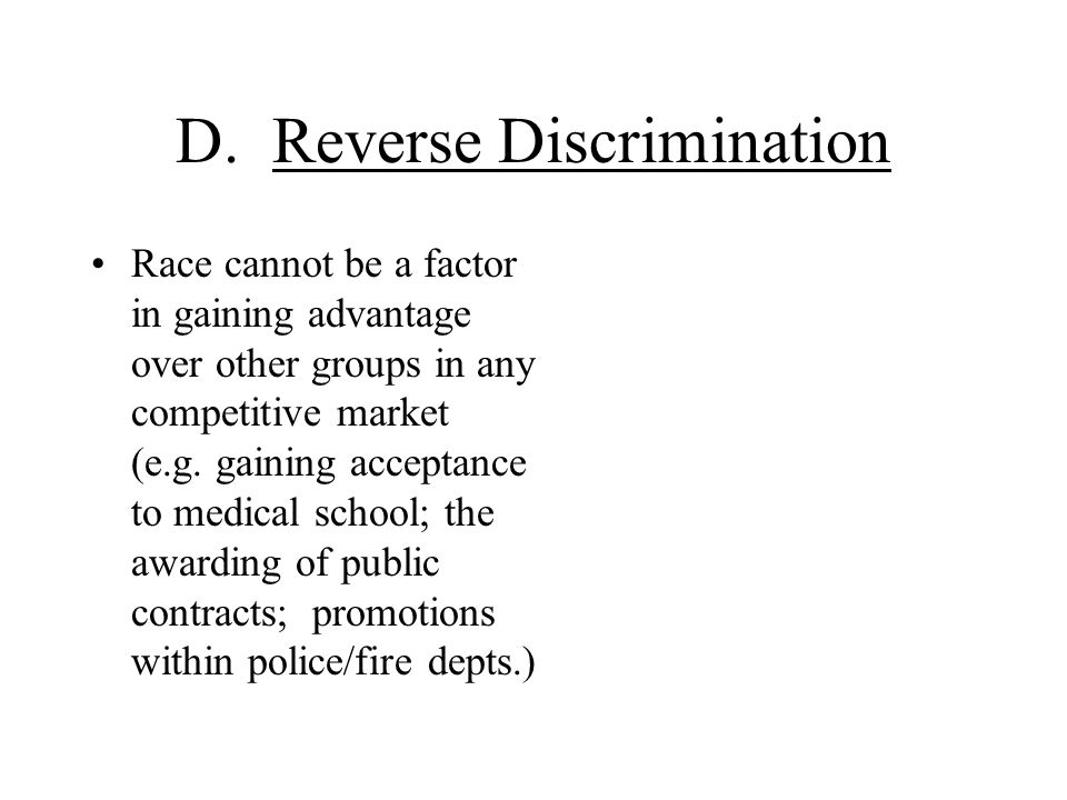 D. Reverse Discrimination