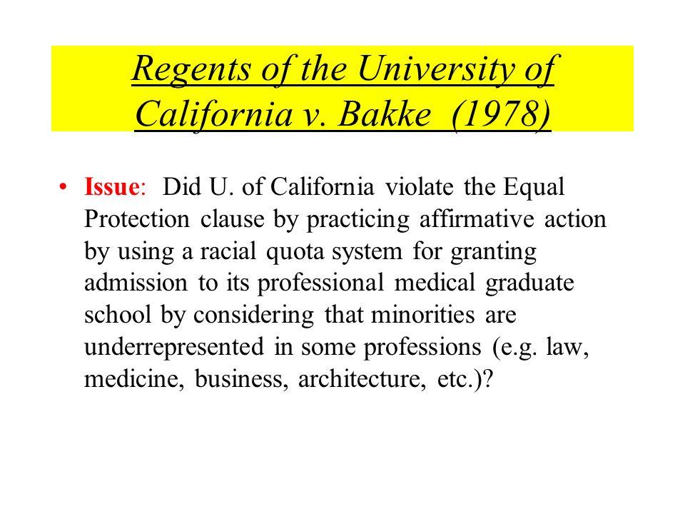 Regents of the University of California v. Bakke (1978)