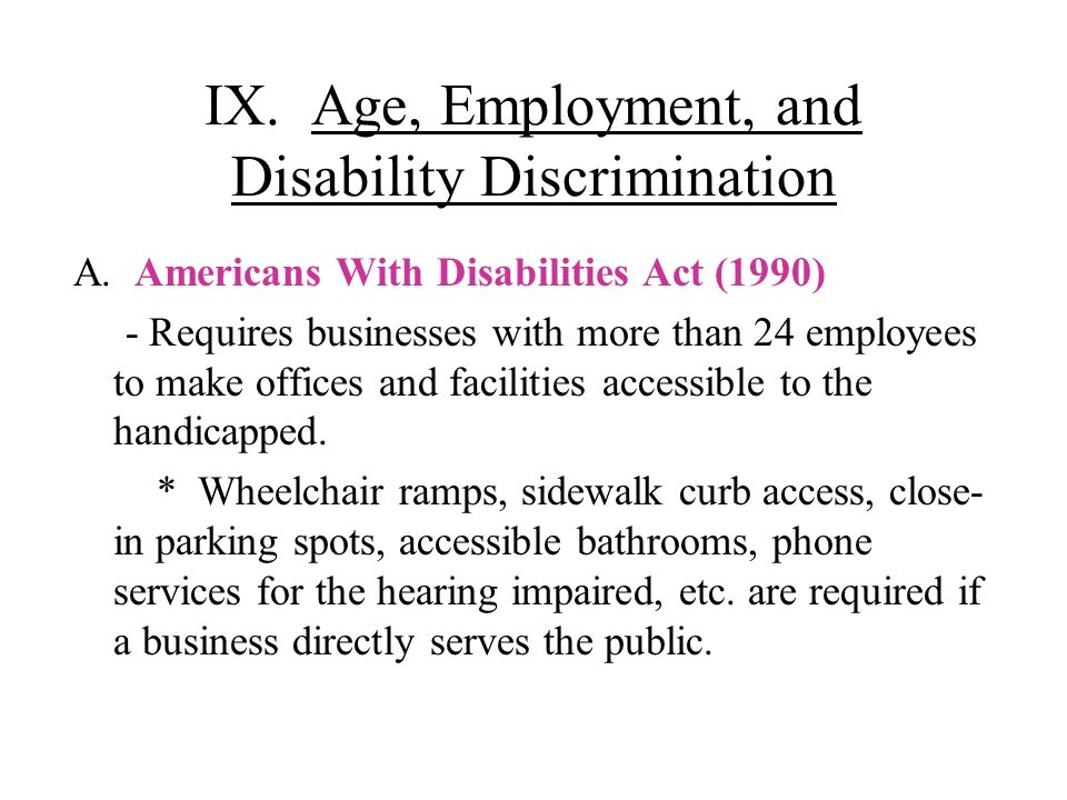 IX. Age, Employment, and Disability Discrimination