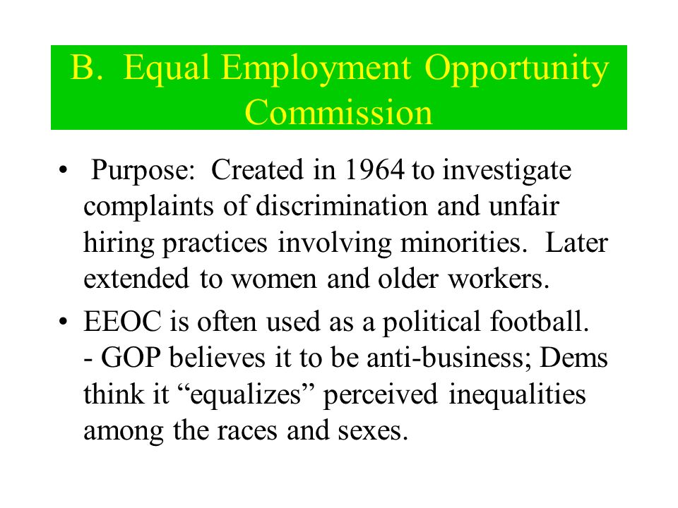 B. Equal Employment Opportunity Commission