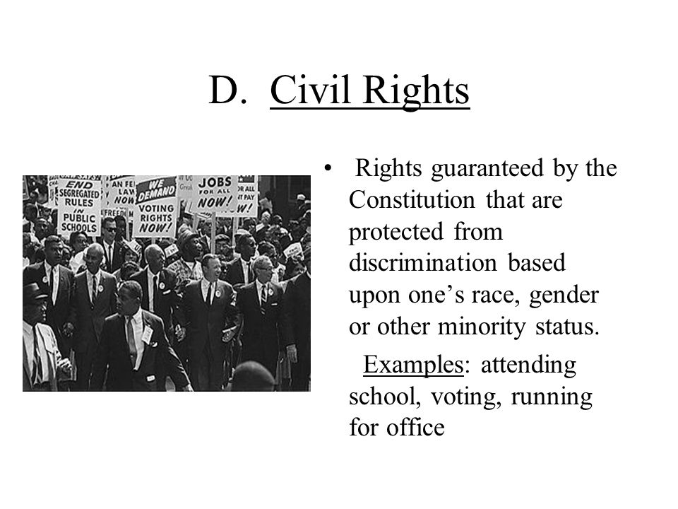 D. Civil Rights Rights guaranteed by the Constitution that are protected from discrimination based upon one's race, gender or other minority status.