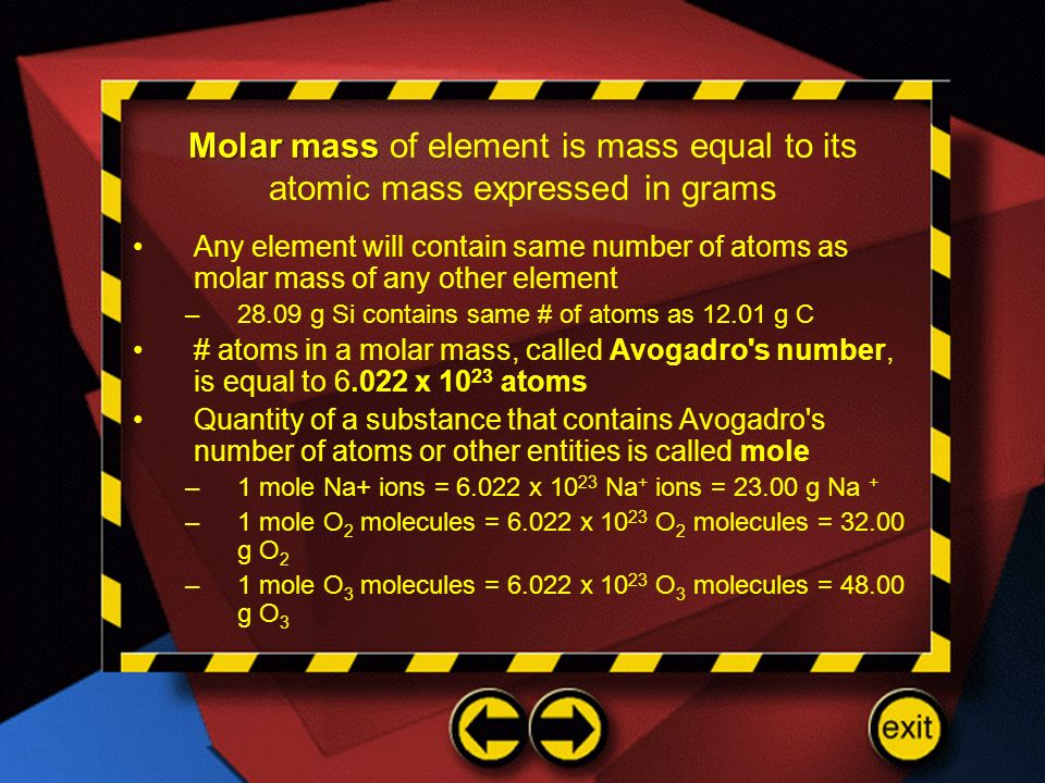 Molar mass of element is mass equal to its atomic mass expressed in grams