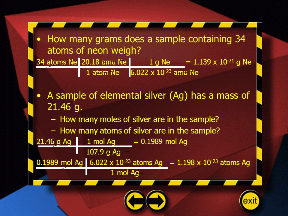 How many grams does a sample containing 34 atoms of neon weigh