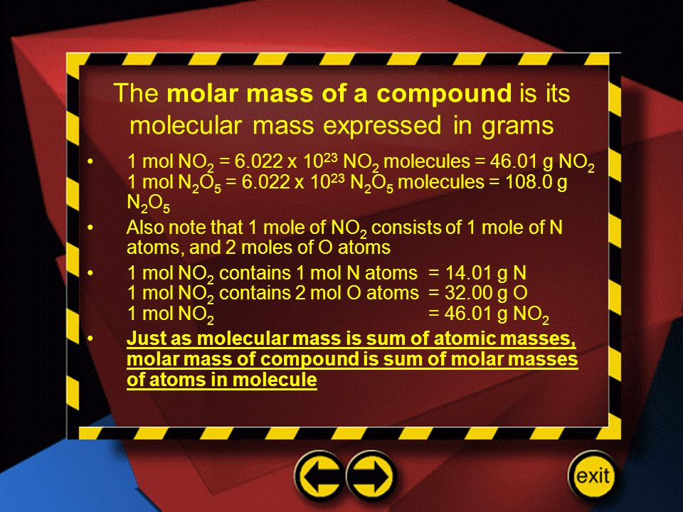 The molar mass of a compound is its molecular mass expressed in grams