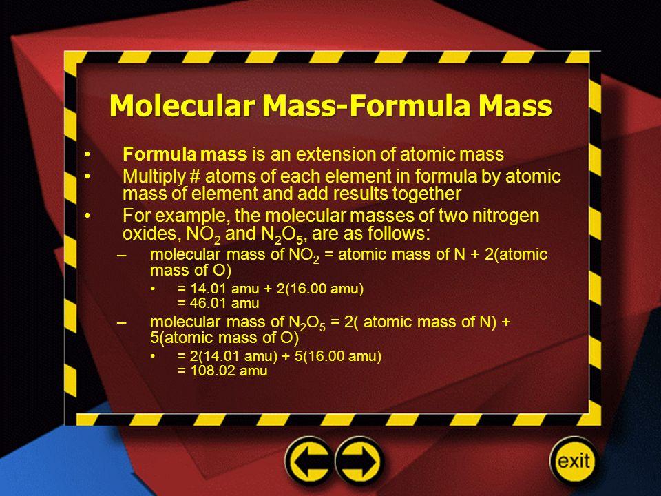 Molecular Mass-Formula Mass