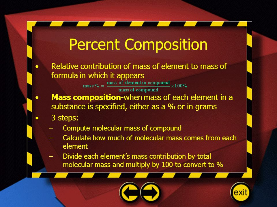 Percent Composition Relative contribution of mass of element to mass of formula in which it appears.