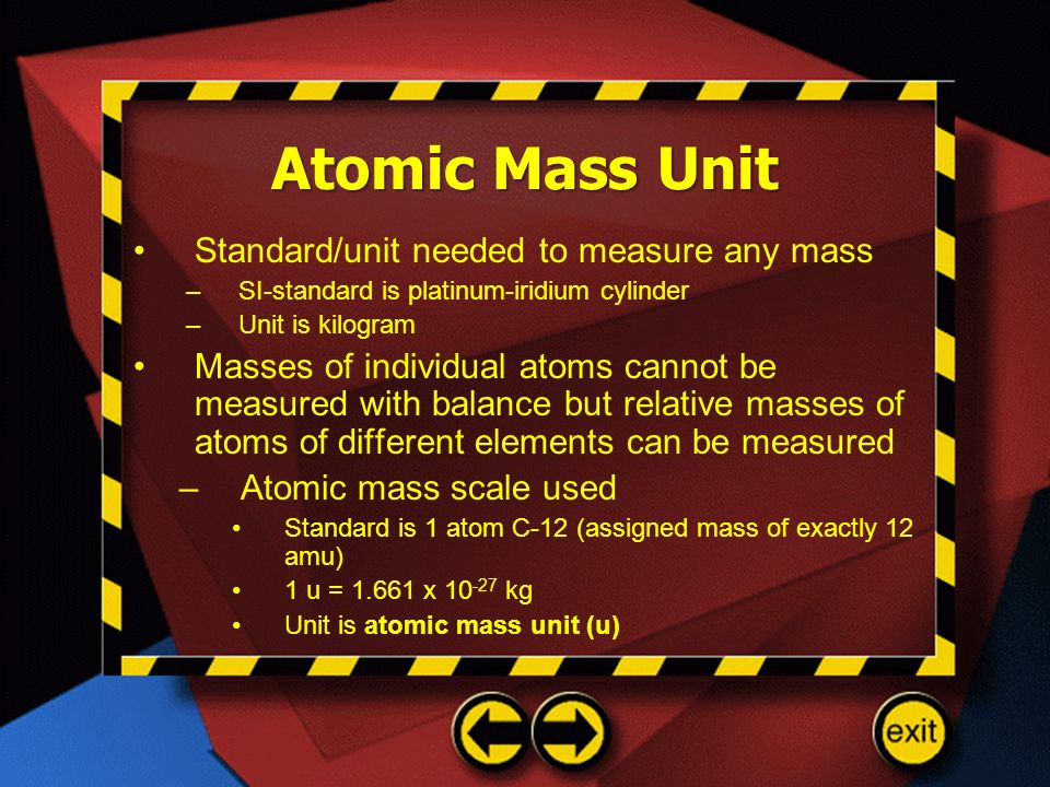 Atomic Mass Unit Standard/unit needed to measure any mass
