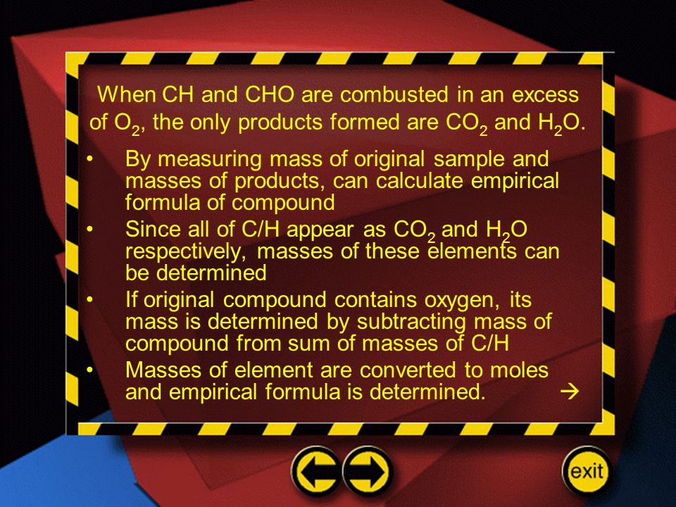 When CH and CHO are combusted in an excess of O2, the only products formed are CO2 and H2O.