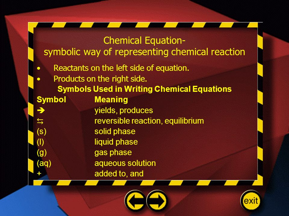 Chemical Equation- symbolic way of representing chemical reaction