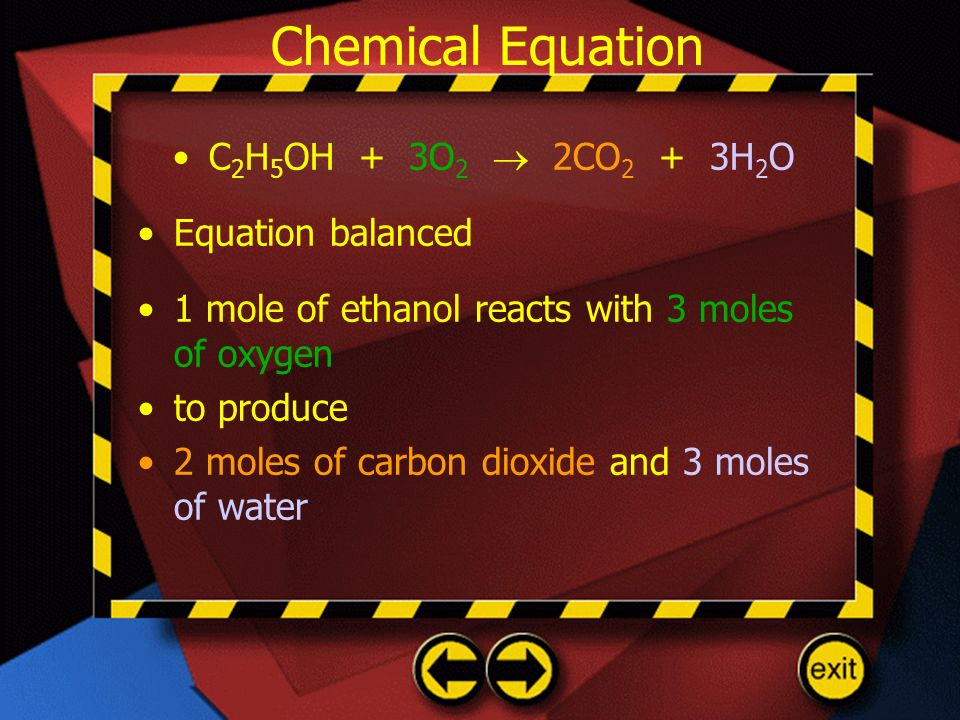 Chemical Equation C2H5OH + 3O2  2CO2 + 3H2O Equation balanced